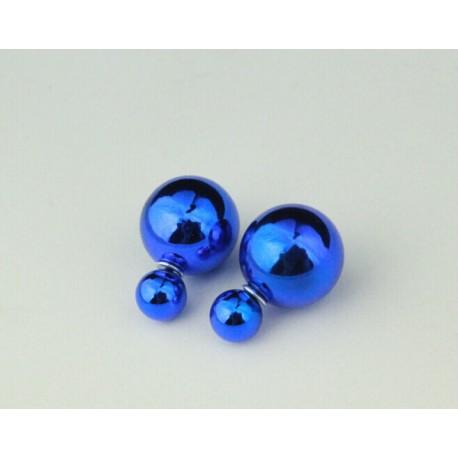Серьги-шарики в стиле Dior, металлический синий