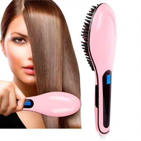 Расческа-выпрямитель Fast Hair Straightener, розовая